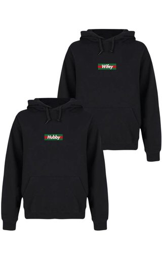 HUBBY & WIFEY STRIPED COUPLE HOODIES