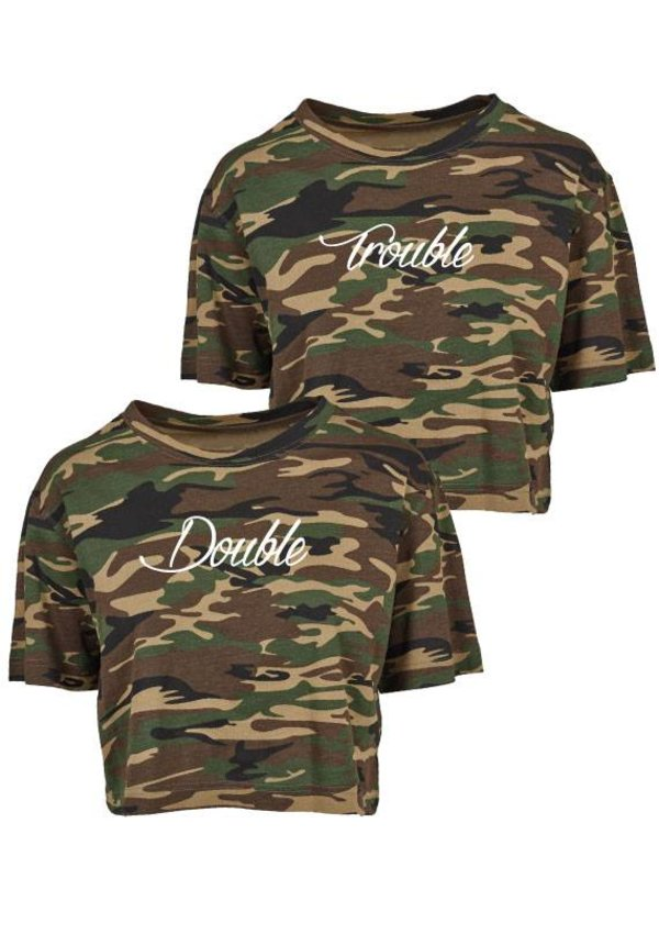 DOUBLE TROUBLE BFF CAMO CROPTOPS