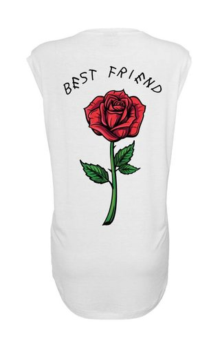 BEST FRIEND ROSE SLEEVELESS TEE