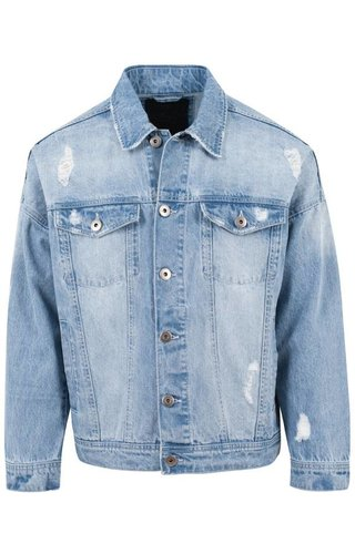 RIPPED DENIM JACKET  BLUE (MEN)