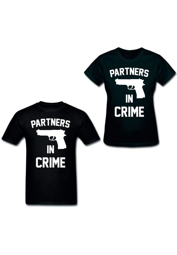 PARTNERS IN CRIME GUN COUPLE TEES