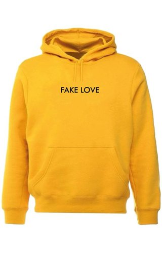 FAKE LOVE HOODIE YELLOW OCHRE