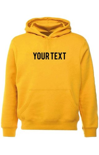 CUSTOM TEXT HOODIE YELLOW OCHRE
