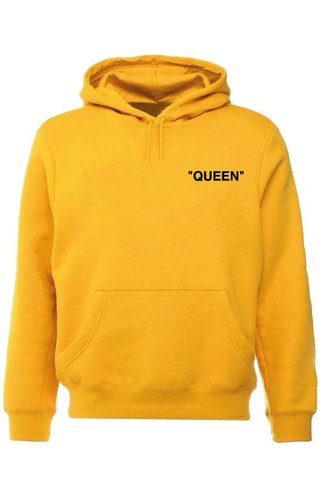 QUEEN QUOTE  HOODIE YELLOW OCHRE