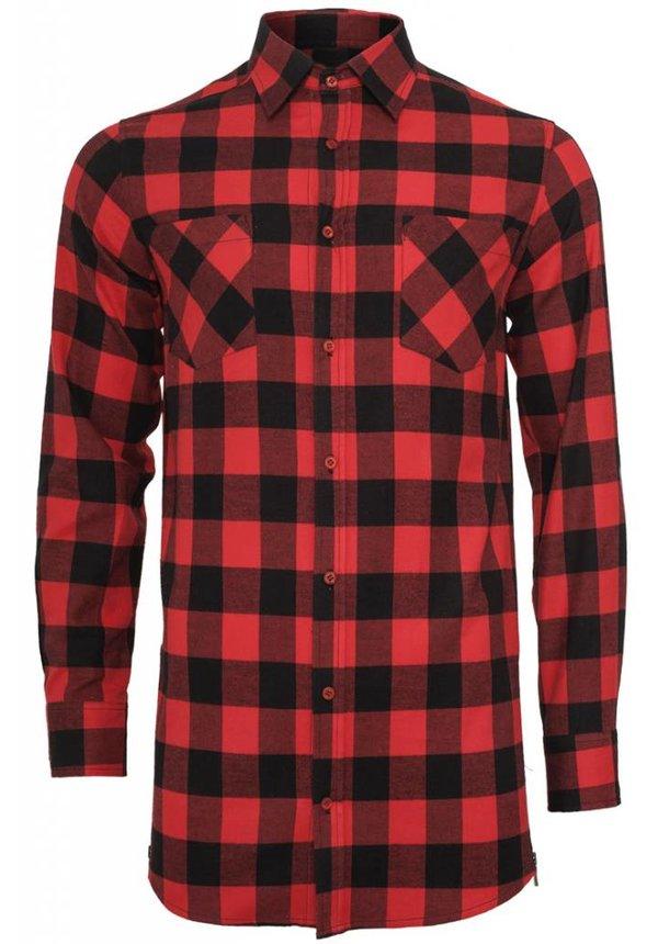 SIDE-ZIP LONG FLANNEL SHIRT BLACK/RED (MEN)