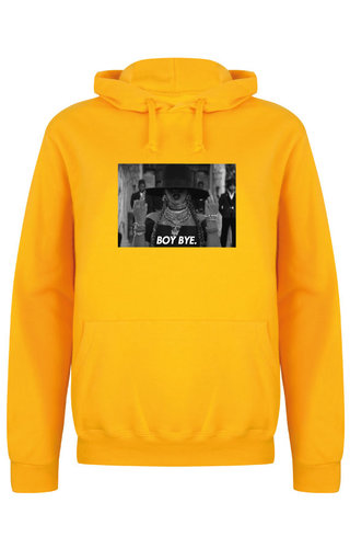 BOY BYE PHOTO HOODIE YELLOW OCHRE