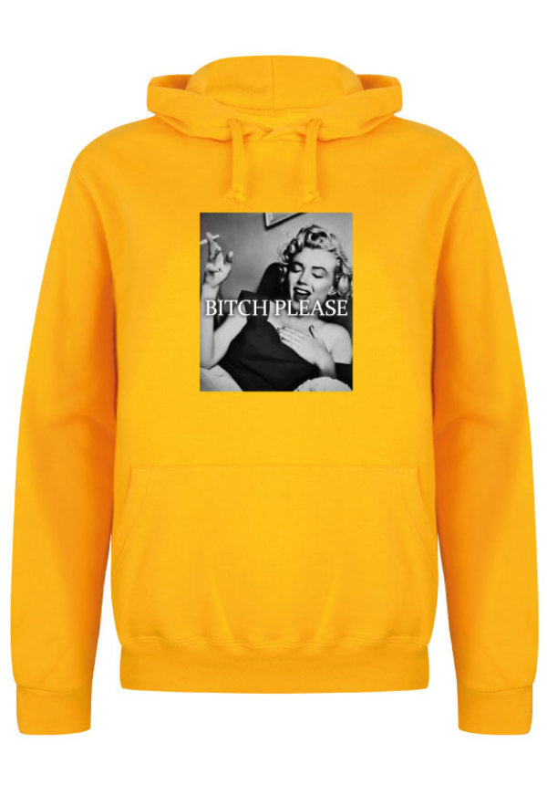 BITCH PLEASE PHOTO HOODIE YELLOW OCHRE