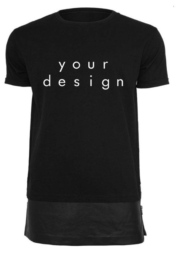 DESIGN YOUR OWN LEATHER BOTTOM LONG TEE (MEN)