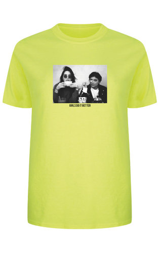 GIRLS DO IT BETTER PHOTO TEE NEON YELLOW