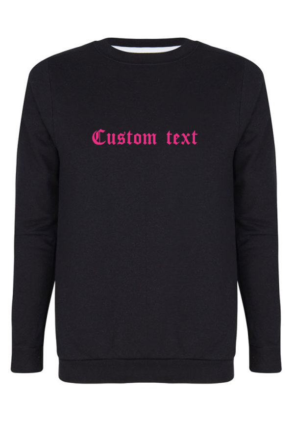 CUSTOM TEXT SWEATER NEON PRINT
