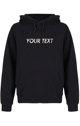 CUSTOM TEXT HOODIE HOLOGRAPHIC