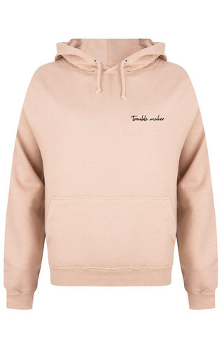 TROUBLE MAKER HOODIE SOFT PEACH