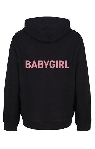 BABYGIRL HOODIE BLACK/SOFT PINK PRINT