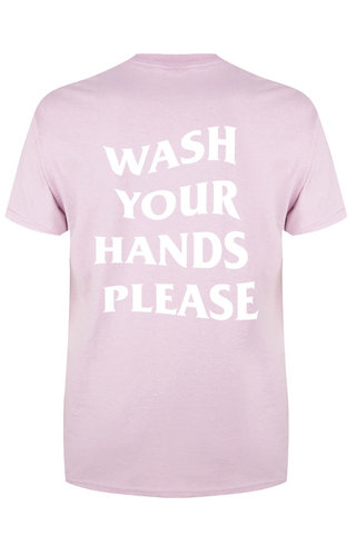 WASH YOUR HANDS TEE SOFT PINK