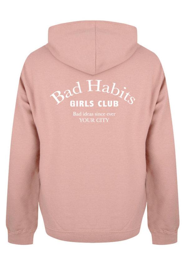 BAD HABITS GIRLS CLUB COUTURE HOODIE DUSTY ROSE (CUSTOM)