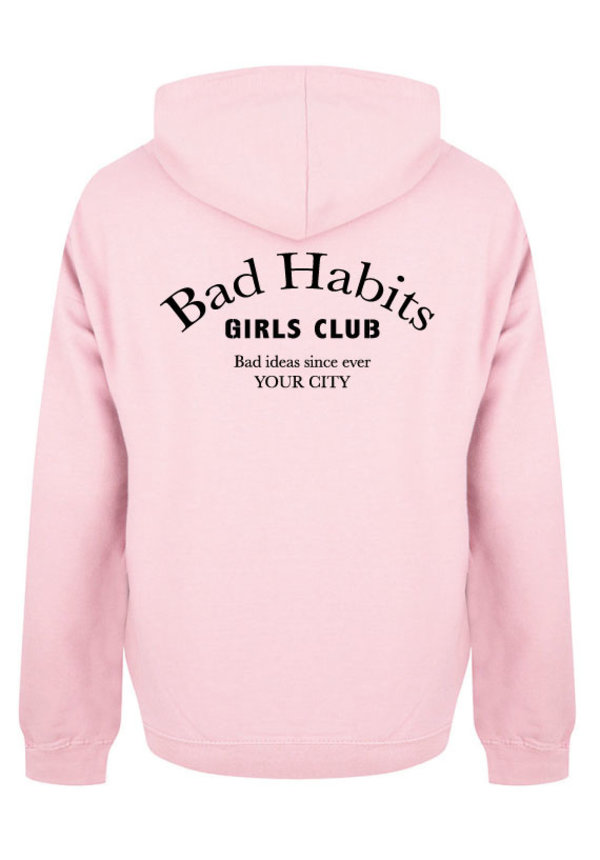 BAD HABITS GIRLS CLUB COUTURE HOODIE SOFT PINK (CUSTOM)