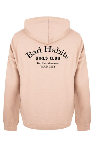 BAD HABITS GIRLS CLUB COUTURE HOODIE SOFT PEACH (CUSTOM)