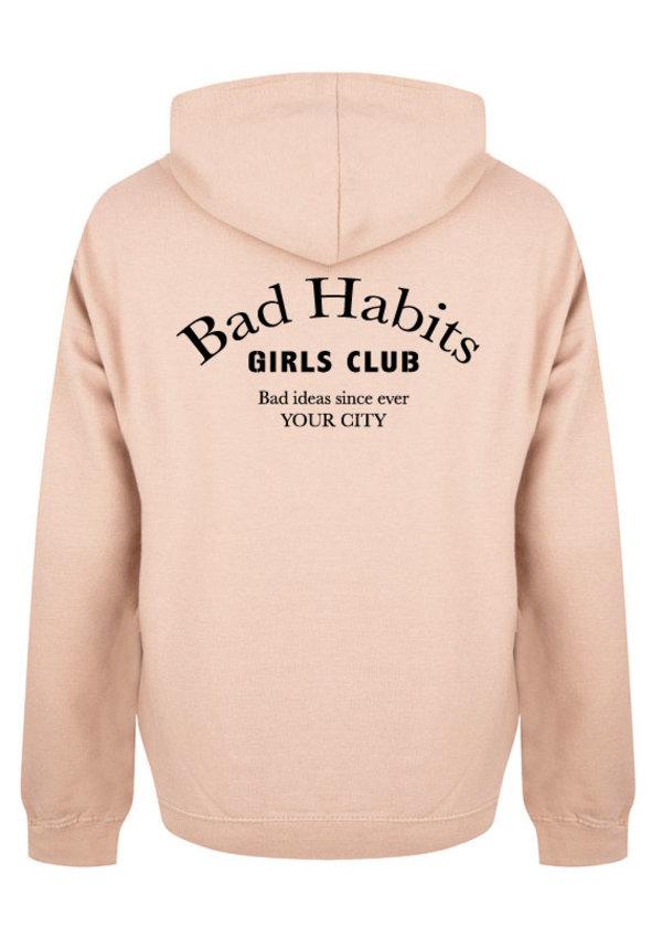 BAD HABITS GIRLS CLUB COUTURE HOODIE SOFT PEACH (CUSTOM)