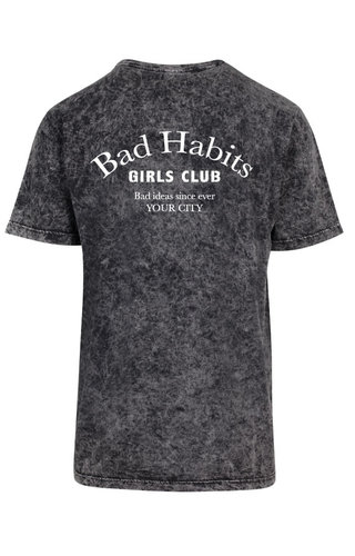 BAD HABITS GIRLS CLUB COUTURE TEE ACID BLACK (CUSTOM)