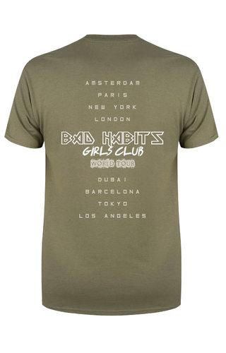 BAD HABITS GIRLS CLUB WORLD TOUR TEE OLIVE