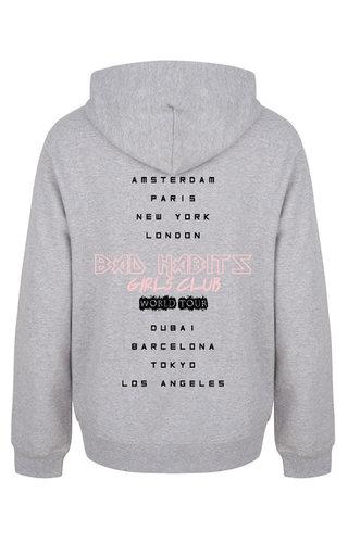 BAD HABITS GIRLS CLUB WORLD TOUR HOODIE LIGHT GREY