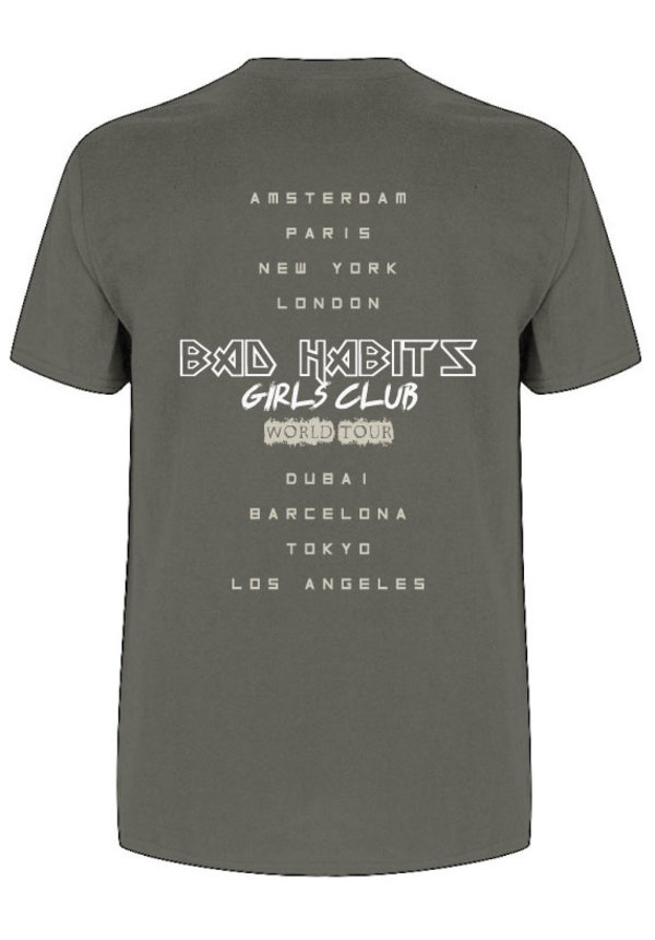 BAD HABITS GIRLS CLUB WORLD TOUR TEE CHARCOAL