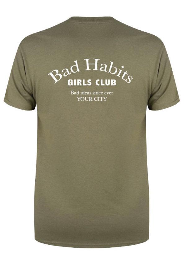 BAD HABITS GIRLS CLUB COUTURE TEE OLIVE (CUSTOM)