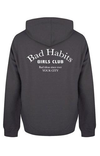 BAD HABITS GIRLS CLUB COUTURE HOODIE DARK GREY (CUSTOM)