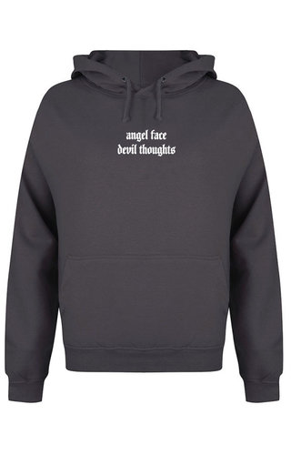 ANGEL FACE HOODIE DARK GREY