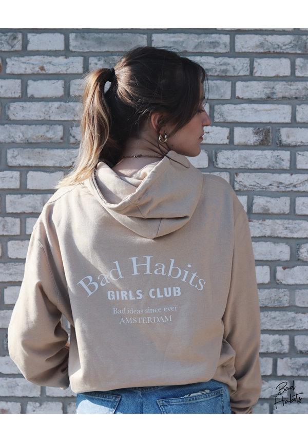 BAD HABITS GIRLS CLUB COUTURE HOODIE BEIGE (CUSTOM)