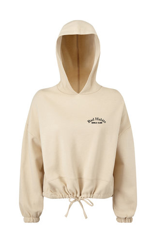 COUTURE CROPPED OVERSIZED HOODIE NUDE