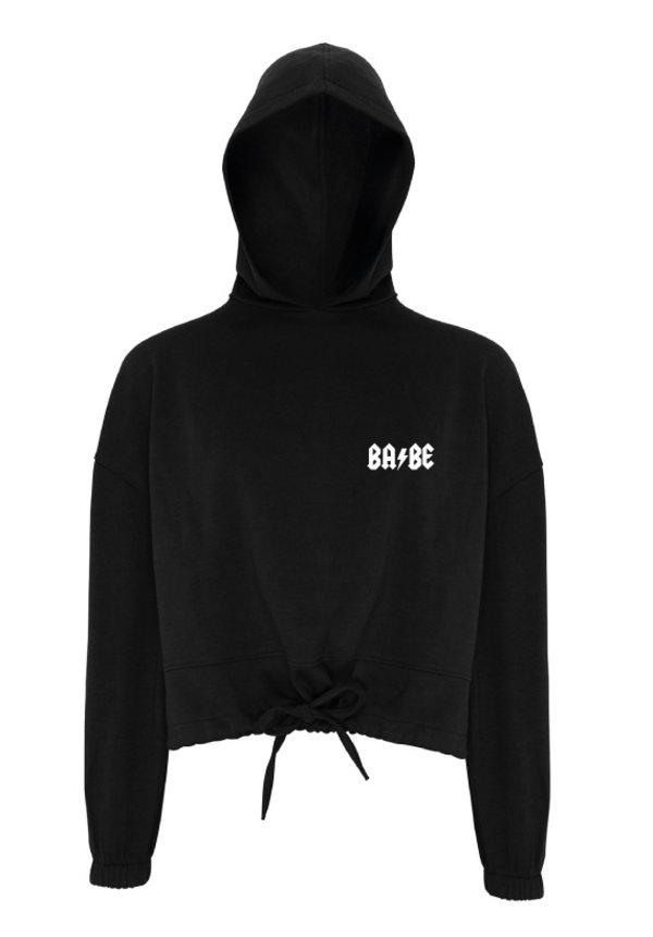BABE CROPPED OVERSIZED HOODIE BLACK