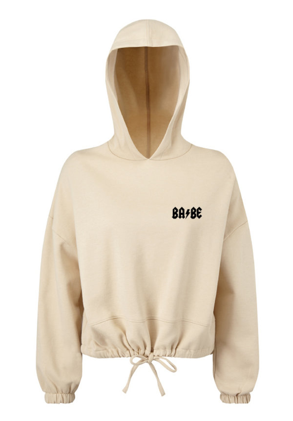 BABE CROPPED OVERSIZED HOODIE NUDE