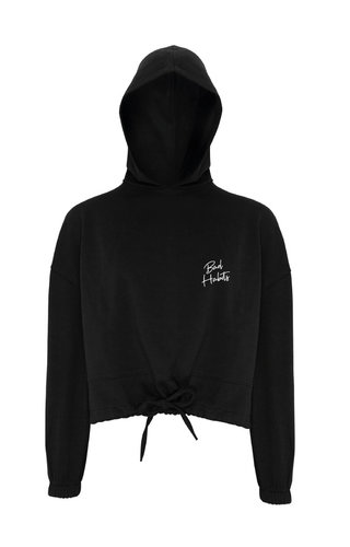 SIGNATURE CROPPED OVERSIZED HOODIE BLACK