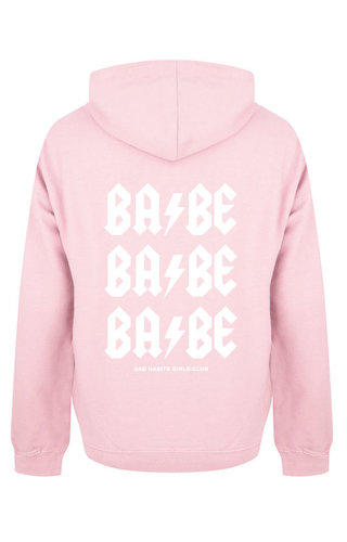 BABE BABE BABE HOODIE SOFT PINK