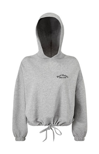COUTURE CROPPED OVERSIZED HOODIE GREY