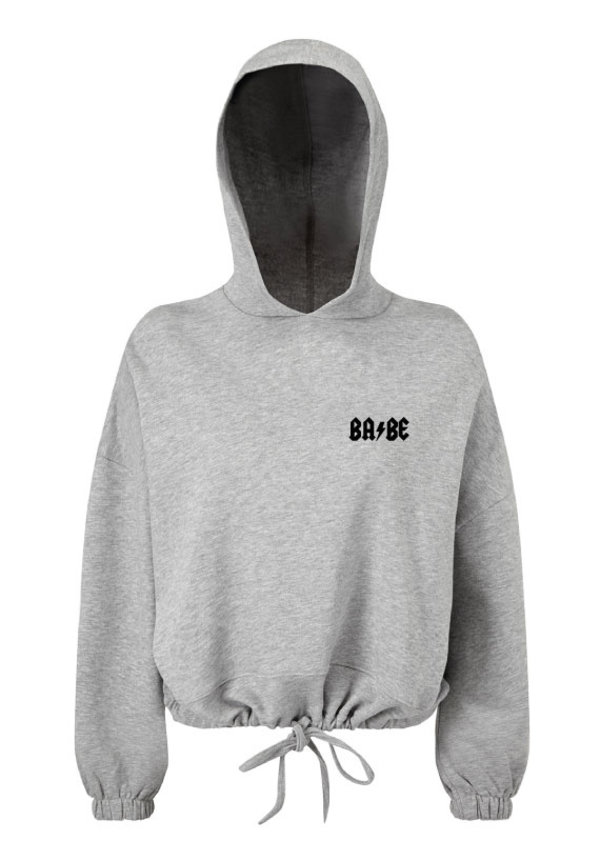 BABE CROPPED OVERSIZED HOODIE GREY