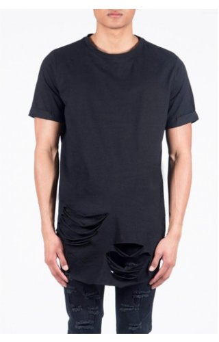 SIXTH JUNE DESTROYED LONG TEE BLACK (MEN)