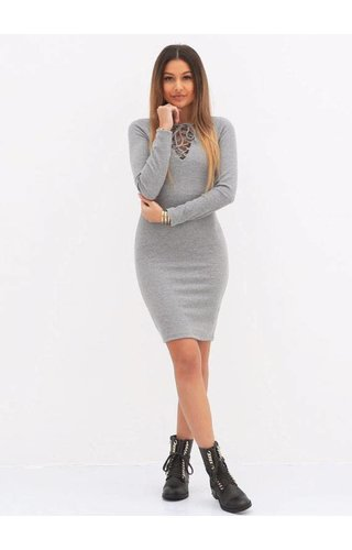 LA SISTERS LACE UP DRESS GREY