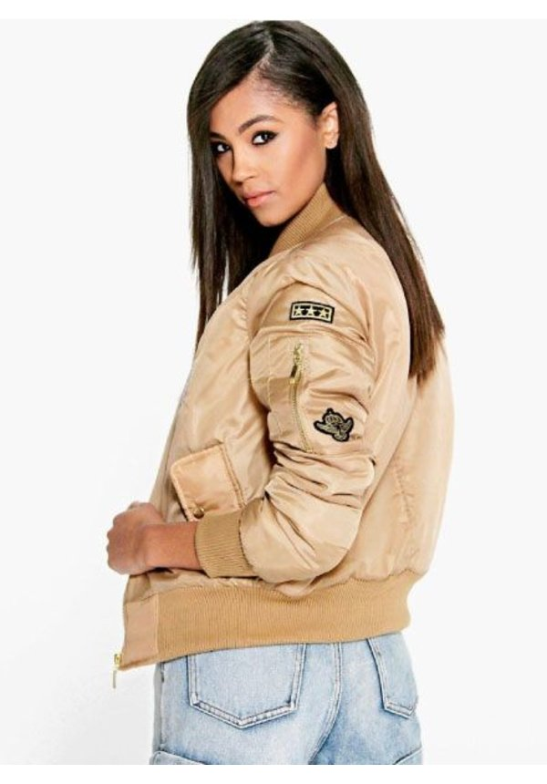 PATCHED BOMBER BEIGE