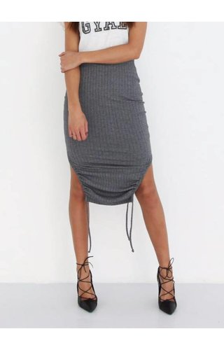 LA SISTERS RIBBED MIDI TUBE SKIRT GREY