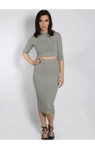 RIBBED TWO PIECE GREY