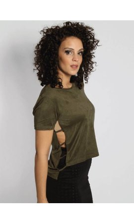 SIDE SLIT SUEDE CROP TEE ARMY
