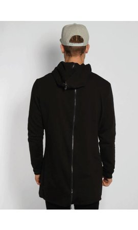 BACK ZIPPER LONG HOODY BLACK (MEN)