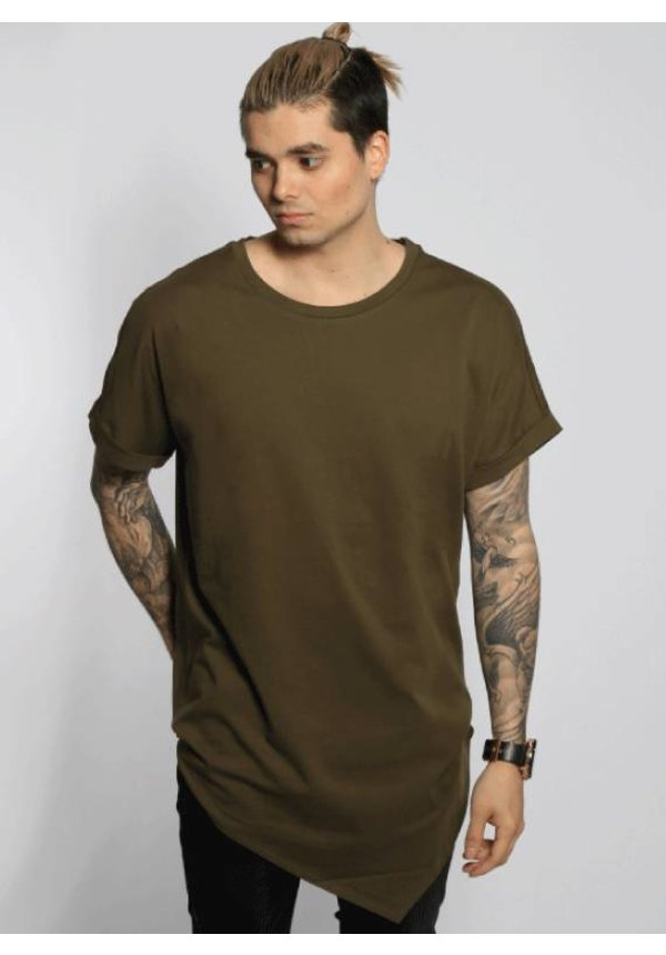 ASYMMETRIC LONG TEE OLIVE