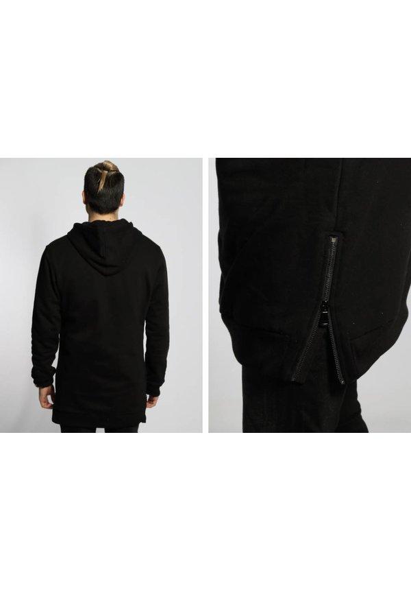SIDE-ZIP LONG HOODY BLACK (MEN)