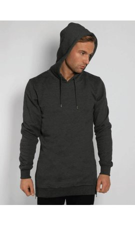 SIDE ZIP LONG HOODY DARK GREY (MEN)