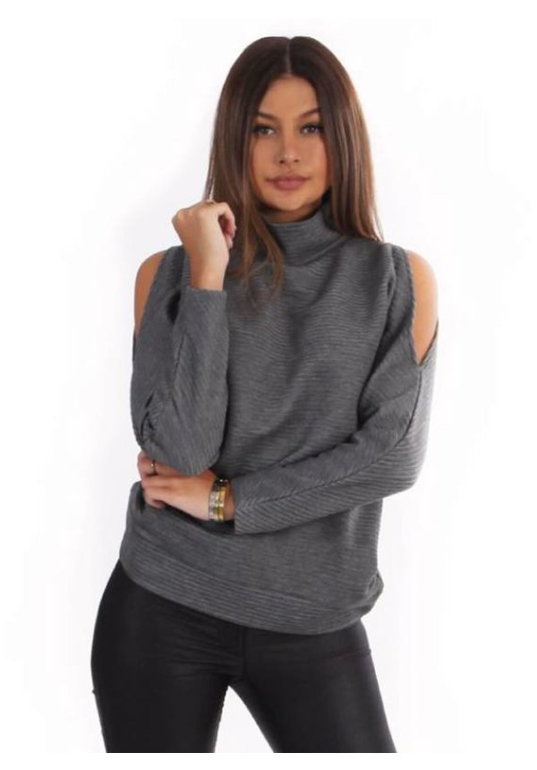 OPEN SHOULDER RIBBED SWEATER GREY