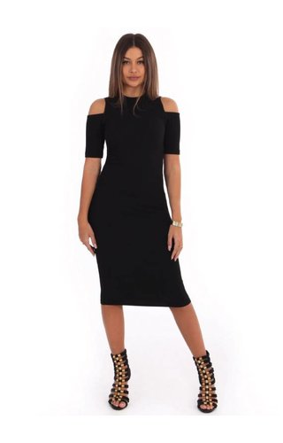LA SISTERS OPEN SHOULDER RIBBED DRESS BLACK
