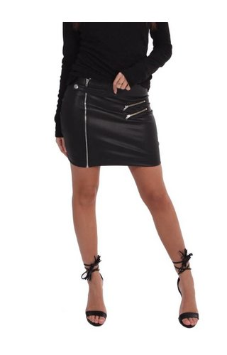 LA SISTERS LEATHER ZIPPER MINI SKIRT BLACK